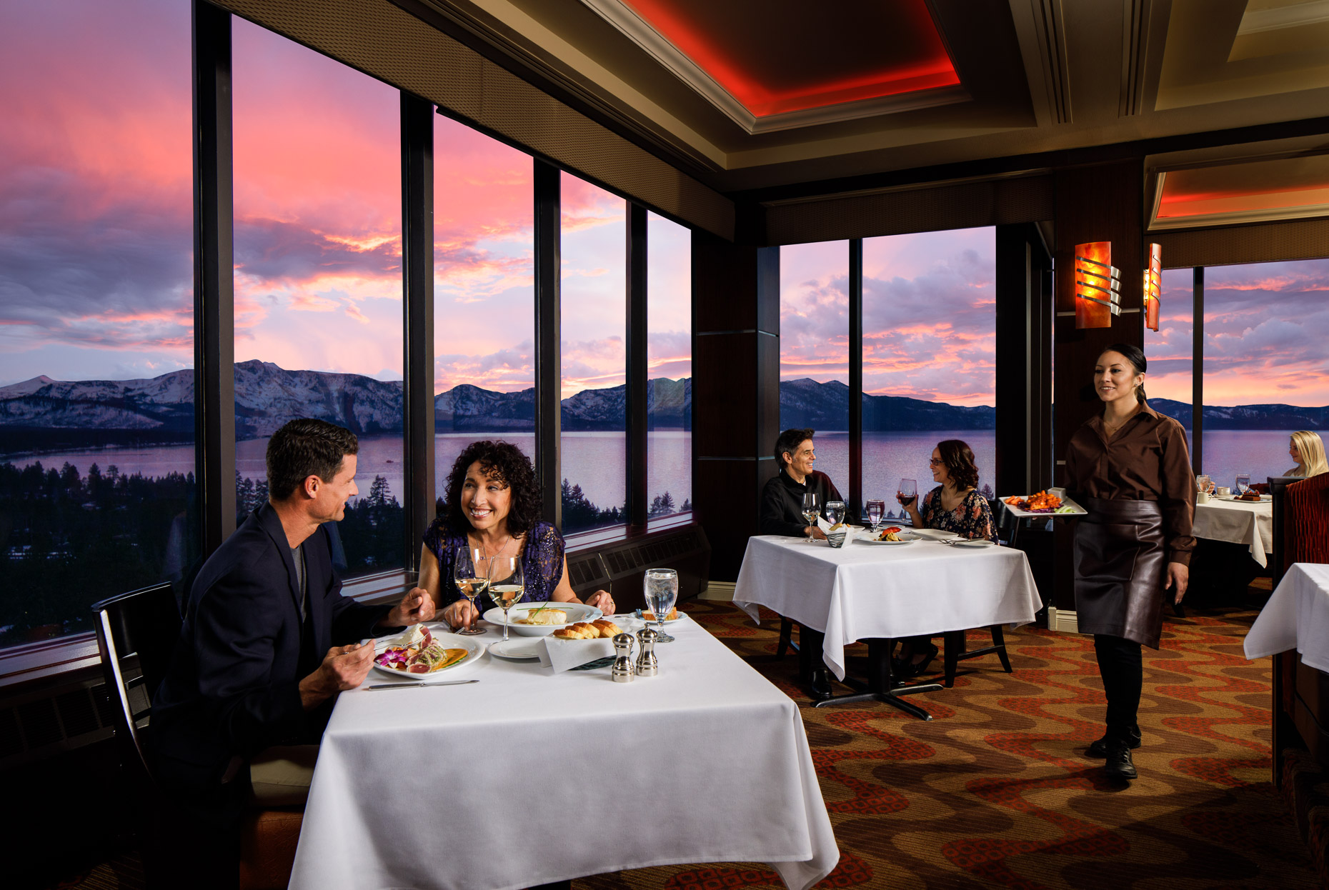 A sunset dinner above Lake Tahoe