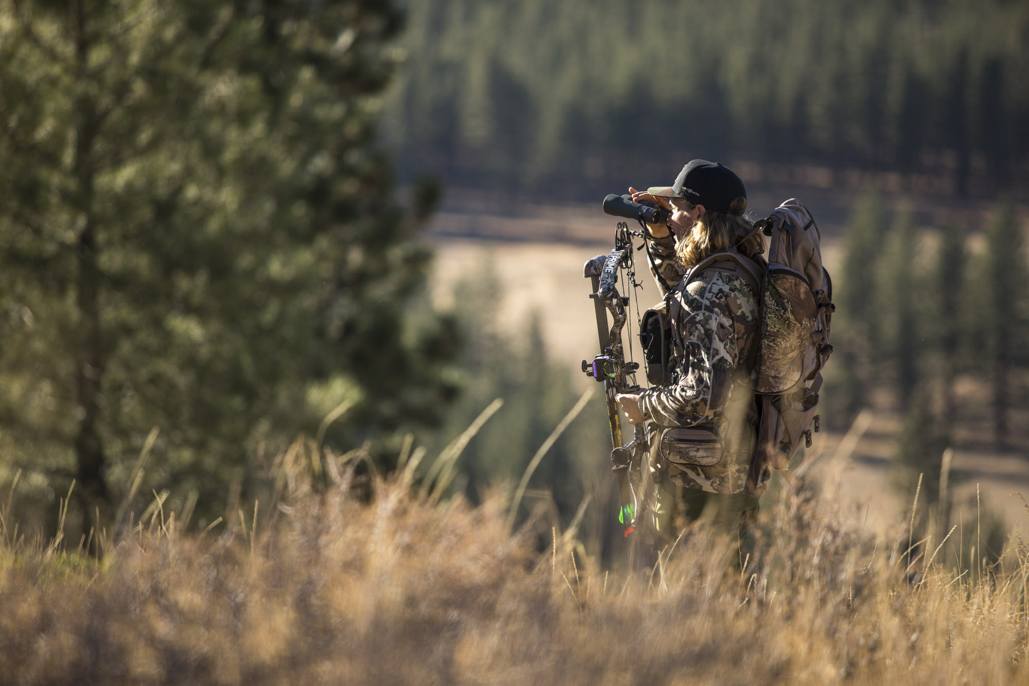 David Wise looks over the land during a bow hunt