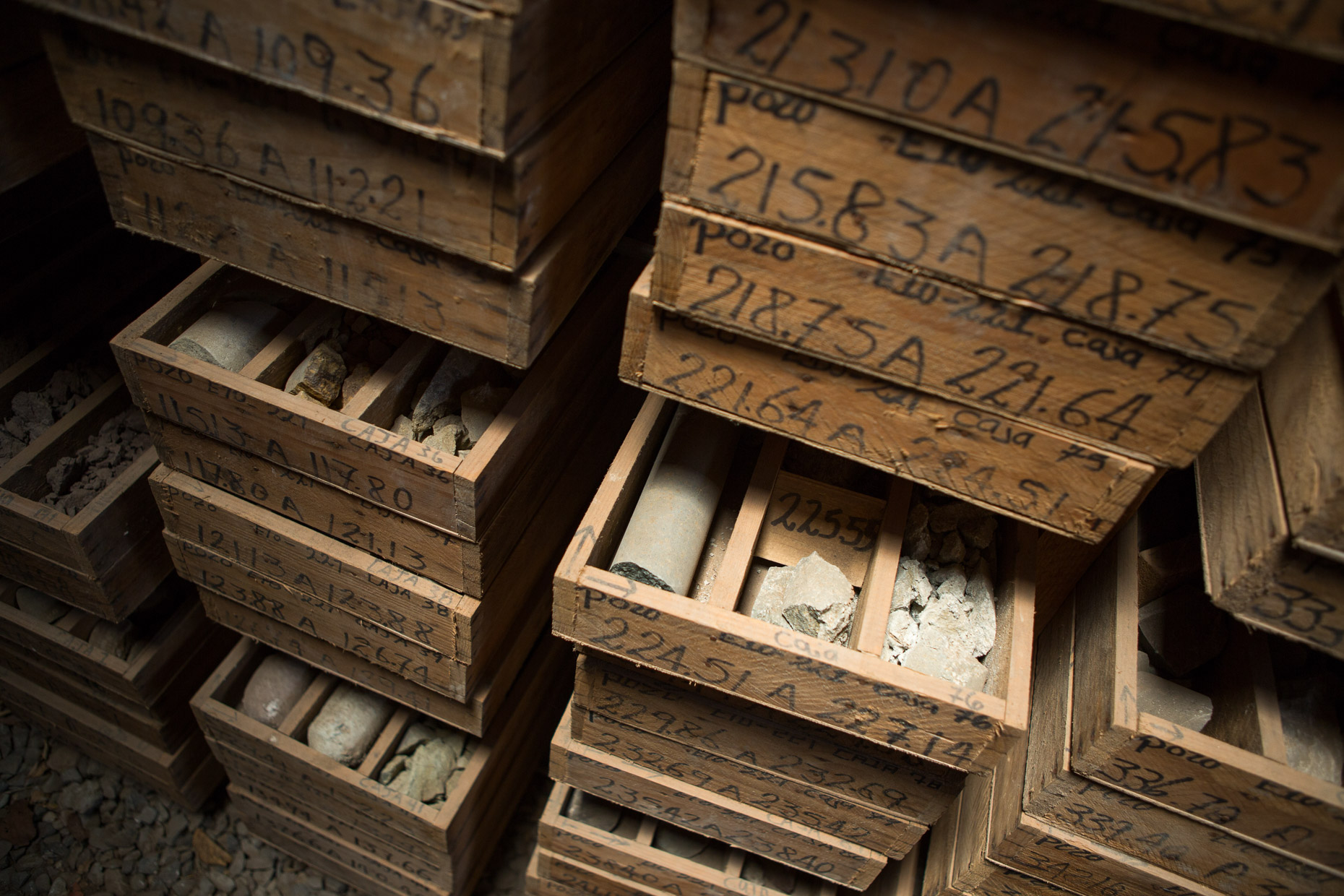 Boxes of core samples from mining exploration.