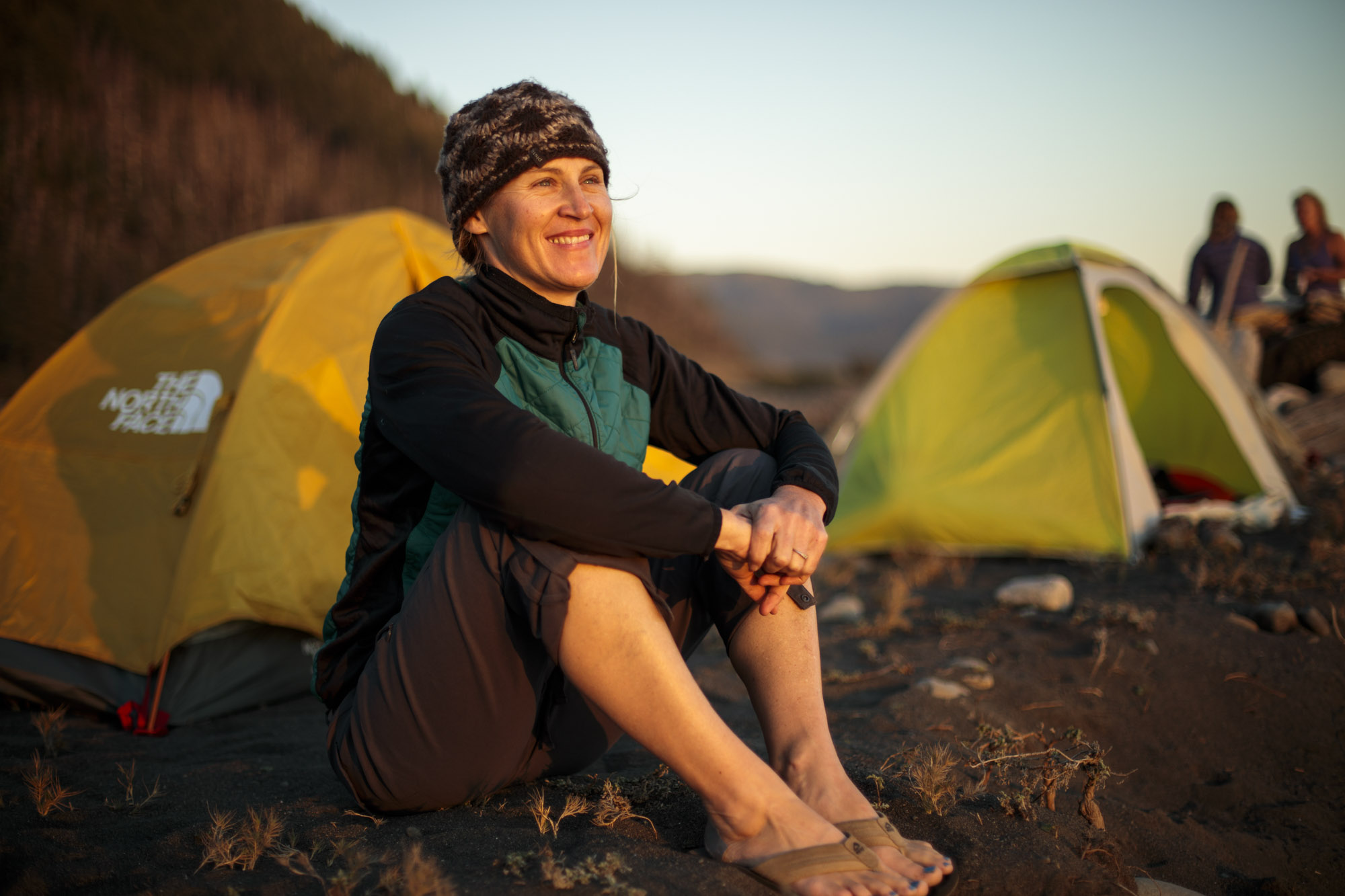 Woman watched the sunset on The Lost Coast Trail in Northern California