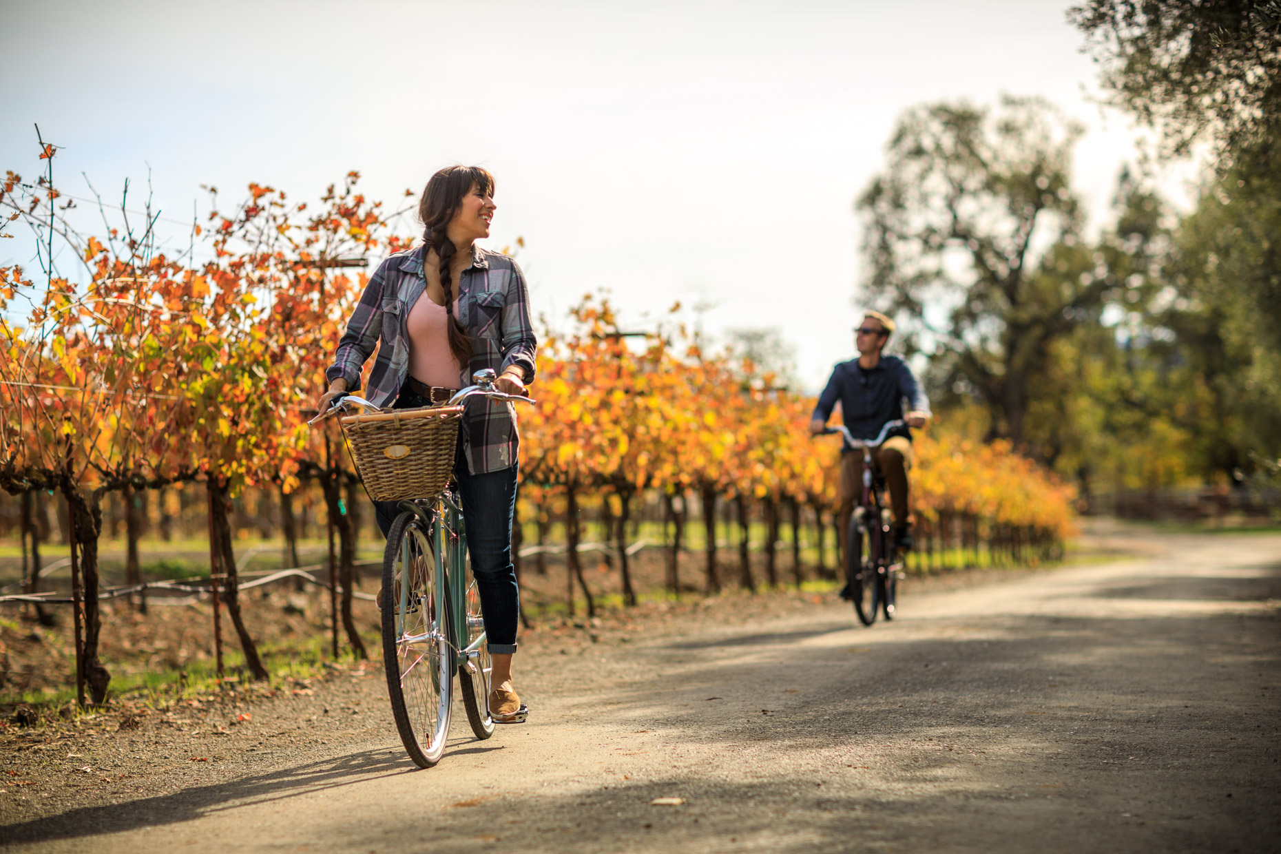 couple ride bikes through a vineyard in Napa