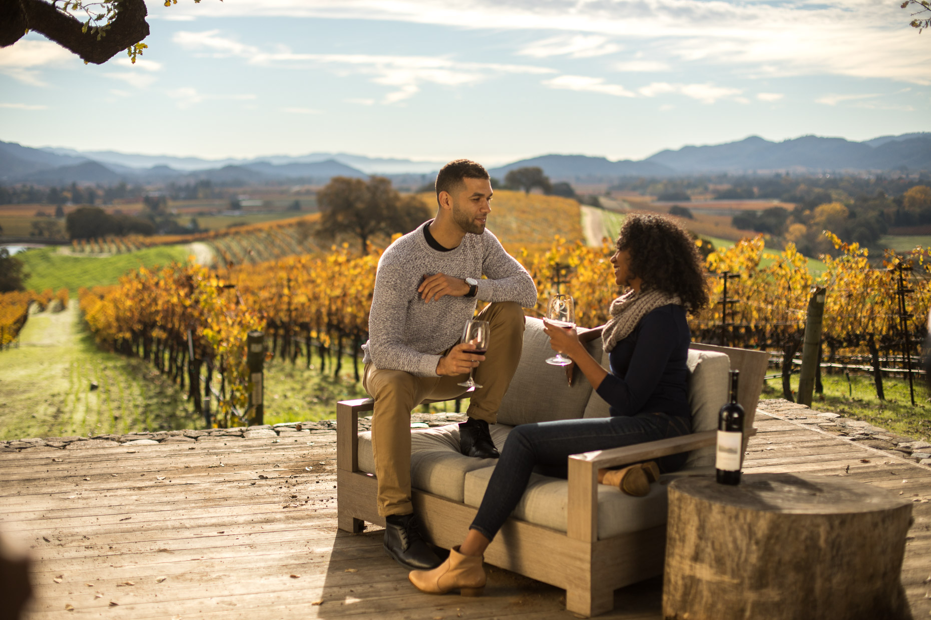 couple in enjoy wine overlooking a vineyard