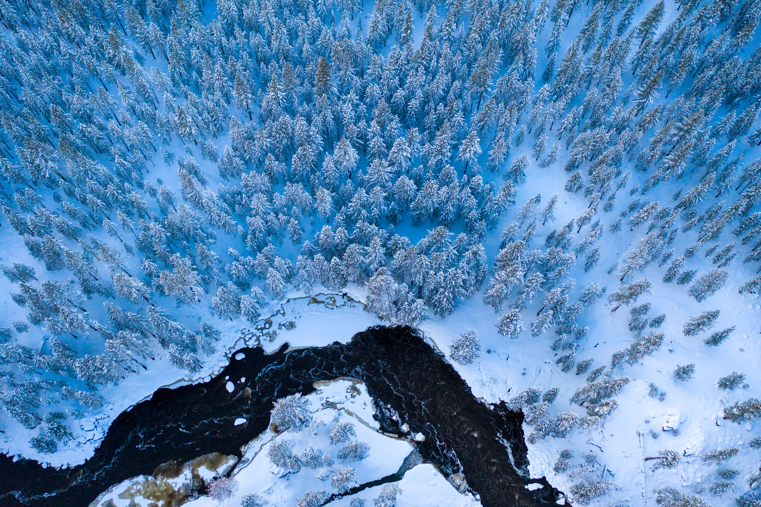 Winter aerial from drone